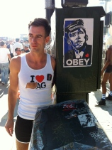 He is my favorite whore. This was taken at Folsom 2012. (The shirt is a love letter to a slut we know.)